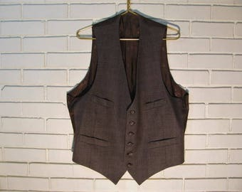 Vtg DIOR brown 4 pocket Glen Plaid tweed vest size 44-48