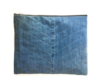 Stella Quilted Denim Clutch - Document Size -Hand crafted from Salvaged Jeans