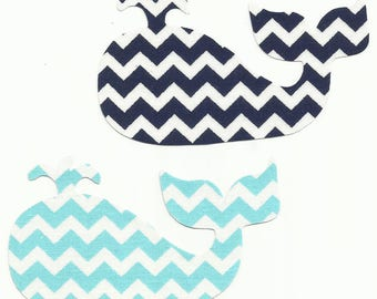 Turquoise or Navy Blue Chevron Whale Fabric Iron on Applique ~ Your Choice