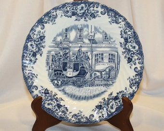 """Johnson Bros """"Coaching Scenes Blue"""" China, Salad Plate, Made in England, Blue & White China"""