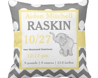 Elephant Gray Yellow Birth Announcement Pillow Cover and Insert