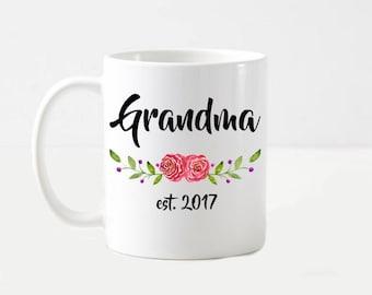 New Grandma Floral Watercolor Grandma Gift Coffee Mug