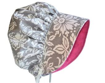 Modern Baby Bonnet, Sun Hat, Girl Sun Bonnet Summer Hat, Newborn Hat, Cotton Toddler Hat, Infant Bonnet, Gray Floral Beach Hat Made To Order