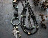 Runic inscription necklace - Joy - dark double necklace, long amulet necklace, rustic norse necklace, black and turquoise necklace