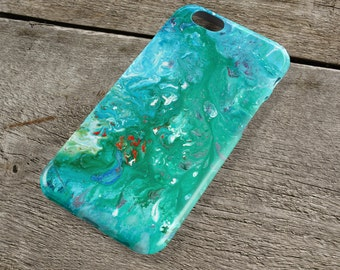 All at Sea iPhone Case - Turquoise & Peppermint Green Unique Abstract Art iPhone Case for iP4, iP5/S/SE, iP5C, iP6/S, iP6+/S, iPod Touch 5