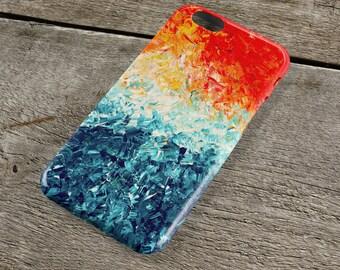 The Wave iPhone Case - Orange & Blue Unique Abstract Art iPhone Case for iP4, iP5/S/SE, iP5C, iP6/S, iP6+/S, iPod Touch 5