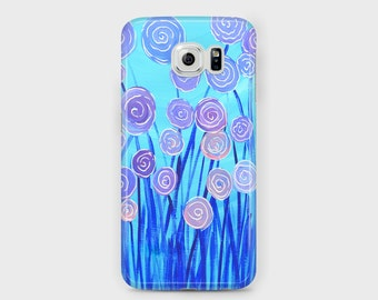 Blue & Lilac Flowers Samsung Phone Case - Unique Abstract Floral, Turquoise and Lilac Case for Samsung Phones - Galaxy S4/S5/S6/S7 Edge Ace