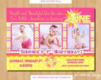 Sunshine invitation You are My Sunshine birthday party Sunshine invite sunshine birthday invitation 1st birthday girl invitations photo pic