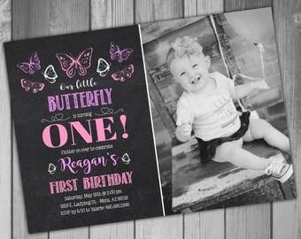 Butterfly Birthday Invitation Butterfly Birthday Party Butterfly Party Girl First Birthday Girl 1st Birthday Girl Birthday Invitations