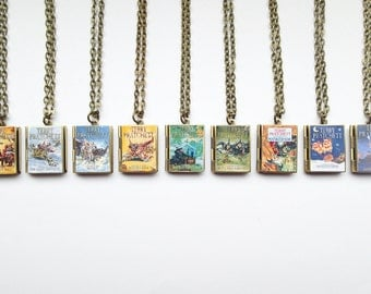 Fantasy Sci Fi Inspired Resin Covered Locket Book Necklace