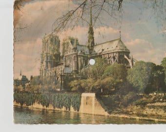 Vintage French phonograph postcard record chanson 1948 La Seine Notre Dame Paris