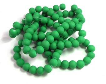 Bulk Strand 8mm Rubberized Glass Beads, Green Rubber, White Glass, Rubber Coated Glass, Crafting Beads, Jewelry Making, 32 Inch Strand
