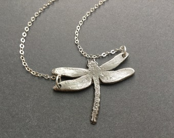 Dragonfly Pendant Necklace, Fine Silver Dragonfly Pendant, Personalized Dragonfly,Custom Gift, Spirit Animal