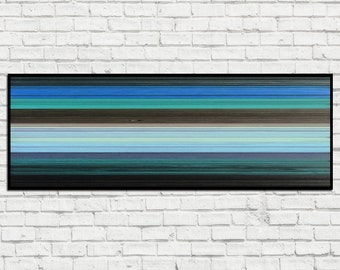 Horizontal Cove - Reclaimed Wood Art in Blues, Teal, Browns, Grays, and Black - Wood Wall Art - Abstract Wood Art - Modern Wood Art