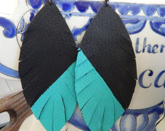 Black & Turquoise Feather Leather Earrings