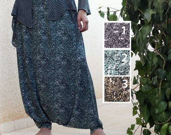 Casual Harem Skirt Pants, Drop Crotch - Very Low Crotch Pants, Goddess clothing, Plus Size Maternity, Custom made, Tall Women's Clothing