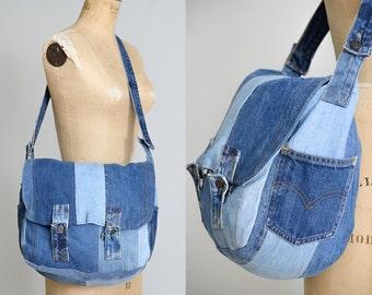 70s Levis Patchwork Messenger Bag Large Indigo Denim Handmade Crossbody Purse