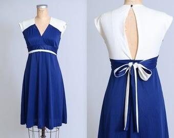 70s Open Back Navy Blue Empire Waist Disco Dress
