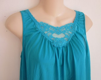 SALE Vintage nylon nightgown Lorraine free bust Teal S