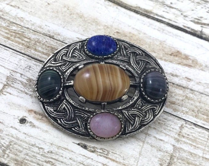 SPRING (SALE 50%) Celtic Miracle Brooch, Vintage Miracle Brooch with colorful glass gemstones, Brooch with agate Rhinestones, unsigned Brooc