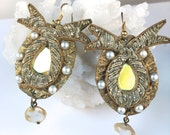 "Antique White-Vintage- ""Boudoir Mirror"" Earrings-Crystal and Pearl- Handmade by Pauletta Brooks"