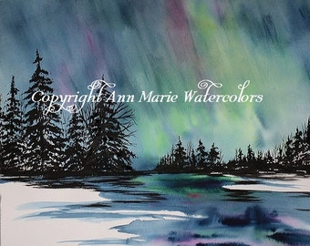 Aurora Borealis - northern lights landscape watercolor giclee or canvas print -  8 x 10