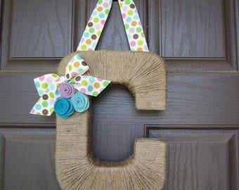 Summer Monogram Wreath with Polka Dot Ribbon.  Farmhouse style Jute Letter.