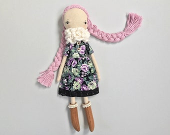 Rag Doll, Cloth Doll, Hairloom Doll, OOAK Doll, Soft Doll, Recycled Fabric Doll, Earth Friendly Cotton Doll Toy, Unique Dolls, Nursery