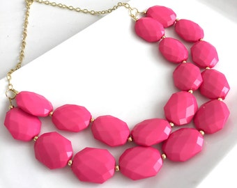 Hot Pink Statement Necklace Bridesmaid Gift Bridal Necklace