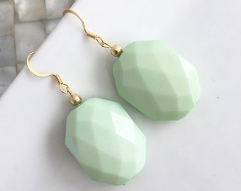 Mint Green Statement Earrings, Mint Dangle Earrings, Faceted Square Bead