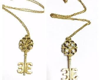 Vintage Skeleton Key Rhinestones Pendant, Gold Tone, Clearance Sale, Item No. B194