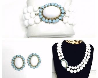 1940's VOGUE parure set, Necklace, Bracelet & Clip on Earrings, Turquoise/white, Item No. B100