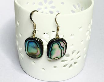 Vintage Abalone Earrings, stamped .925, Ethnic/Native Design, Clearance SALE, Item No. S199c