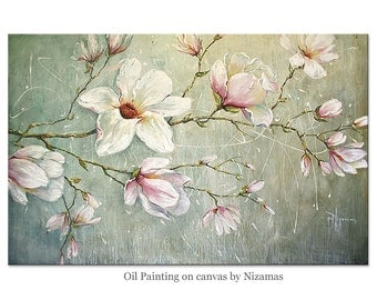 Oil Painting On Canvas, magnolia Original Art by Nizamas