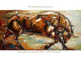 Oil Painting Bull Animal Contemporary Modern Art on Canvas Huge Clean Modern Look Expressive Impressionist, Paula Nizamas