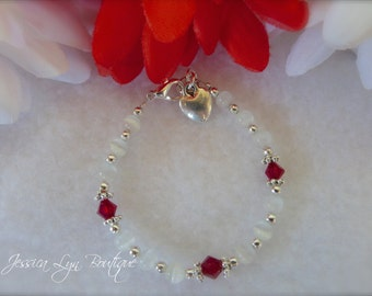 Beautiful Parley Ray Red and White Valentine's Christmas Baby Bracelet Cat Eye, Tibetan spacers, Swarovski Crystal, Charm