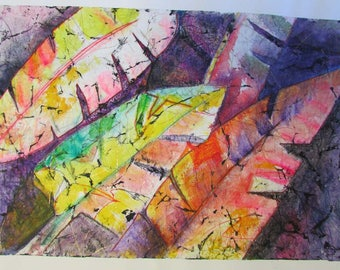 Watercolor Alcohol Ink Mix on Crinkled Japanese Rice paper Painting OOAK  Feather Japanese Leaves Gold Leaf Rice paper