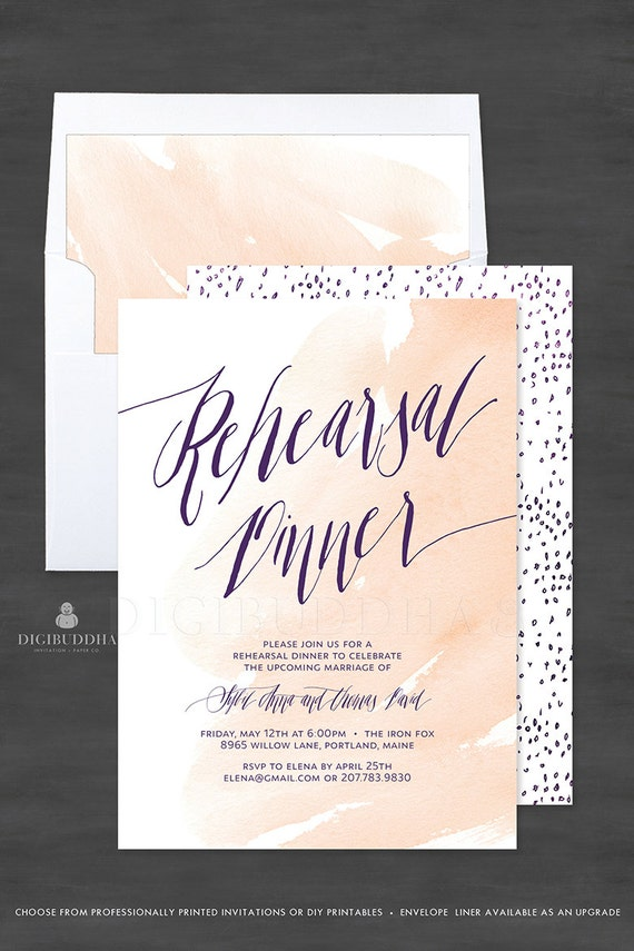 Watercolor Rehearsal Dinner Invitation, 5x7 Customized Wedding ...