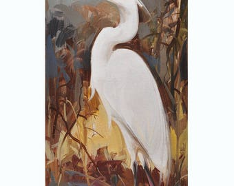 "Original Oil Painting Egrets impressionist bird art 12x24""by X.thmoas"