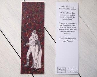 Bookmark - Pride and Prejudice - Mr. Darcy & Elizabeth Bennet - Marbled red and gold endpaper - Victorian line illustration - Jane Austen.