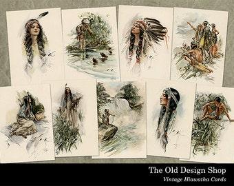 Vintage Hiawatha Cards ATC Size Images 2.5 x 3.5 Inch Digital Collage Sheet Instant Download JPG Format