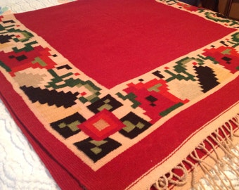 """Vintage Native American Woven Wool Blanket c. 1940's from New Mexico, Vivid Colors, 84""""x54"""", Navajo Blanket"""