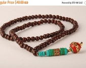 Black Friday Nepali beads with Brass, Turquoise and Red Coral stones on a mala necklace - Ethnic mala beads necklace for meditation tribal n