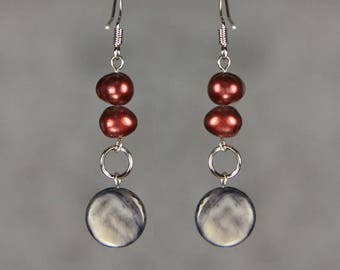Linear long dangling pearl and shell earrings Bridesmaids gifts Free US Shipping handmade Anni Designs