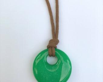 ORGANIC Gemstone Necklace / Mama Necklace - Aventurine on Certified Organic Cotton Cord (Adjustable)