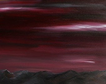 Burgundy red, skies, southwest, mountains, desert, dark, sunset, blood red, original, fine art