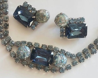 Vintage Bracelet and Earring Set, Blue Rhinestone and Art Glass Jewelry Set