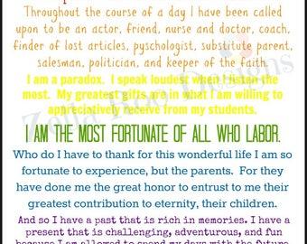 I Am a Teacher Print -- teacher appreciation gift