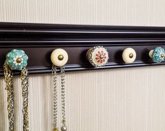 YOU CHOOSE 5,7 or 9 KNOBS Boho Jewelry holder. This Black jewelry hanger has eclectic appeal. May add hooks. Great gift of jewelry storage