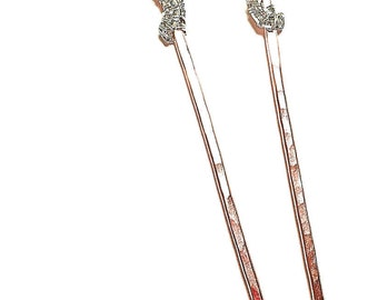 Handmade Garnet Swarovski crystal sterling silver and copper crowned hair fork